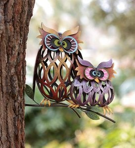 Prismatic Owl Pair Iron Wall Sculptures