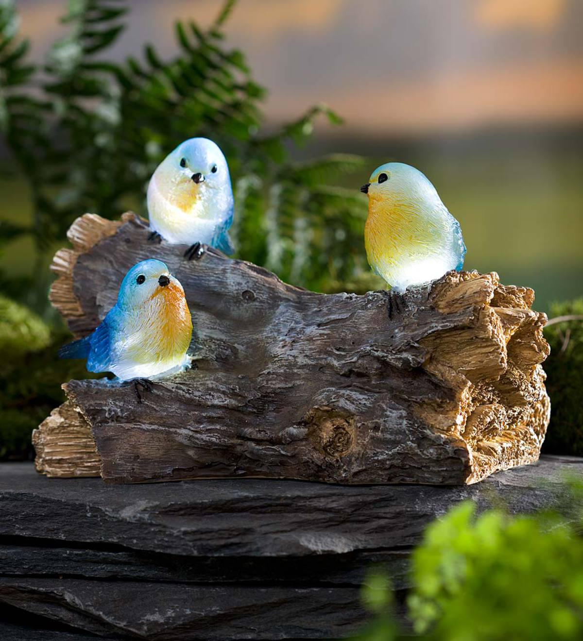 Solar-Lighted Three Bluebirds on a Log Oudoor Sculpture