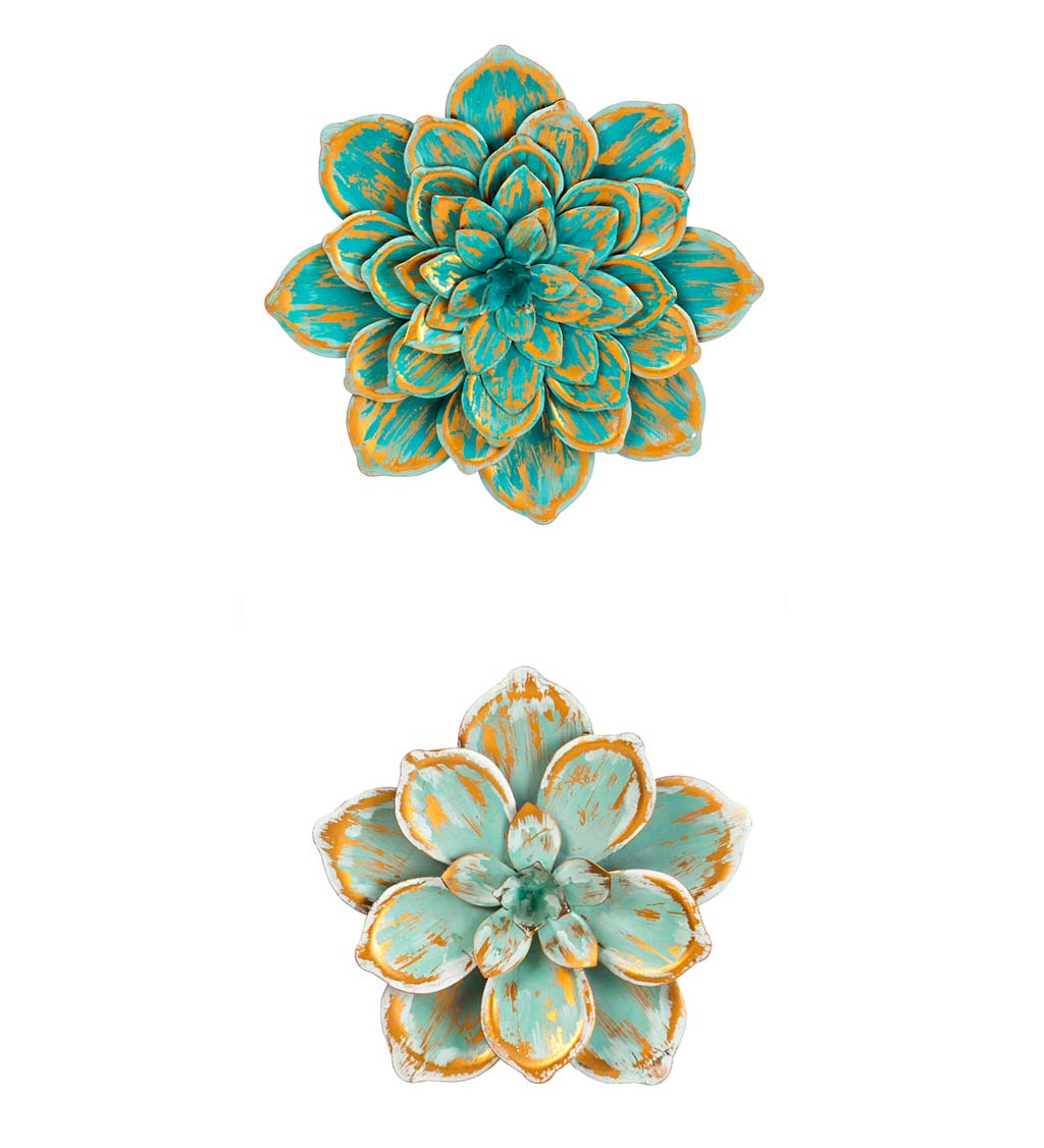 Metal Succulent Wall Flowers, Set of 2