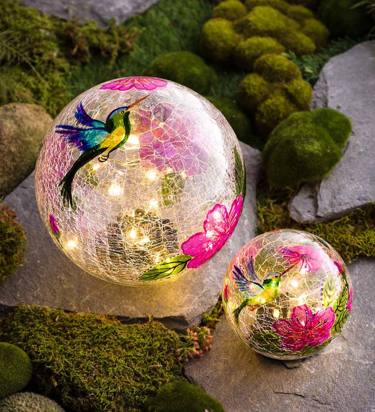 Hummingbird Crackle Glass Solar Globes, Set of 2