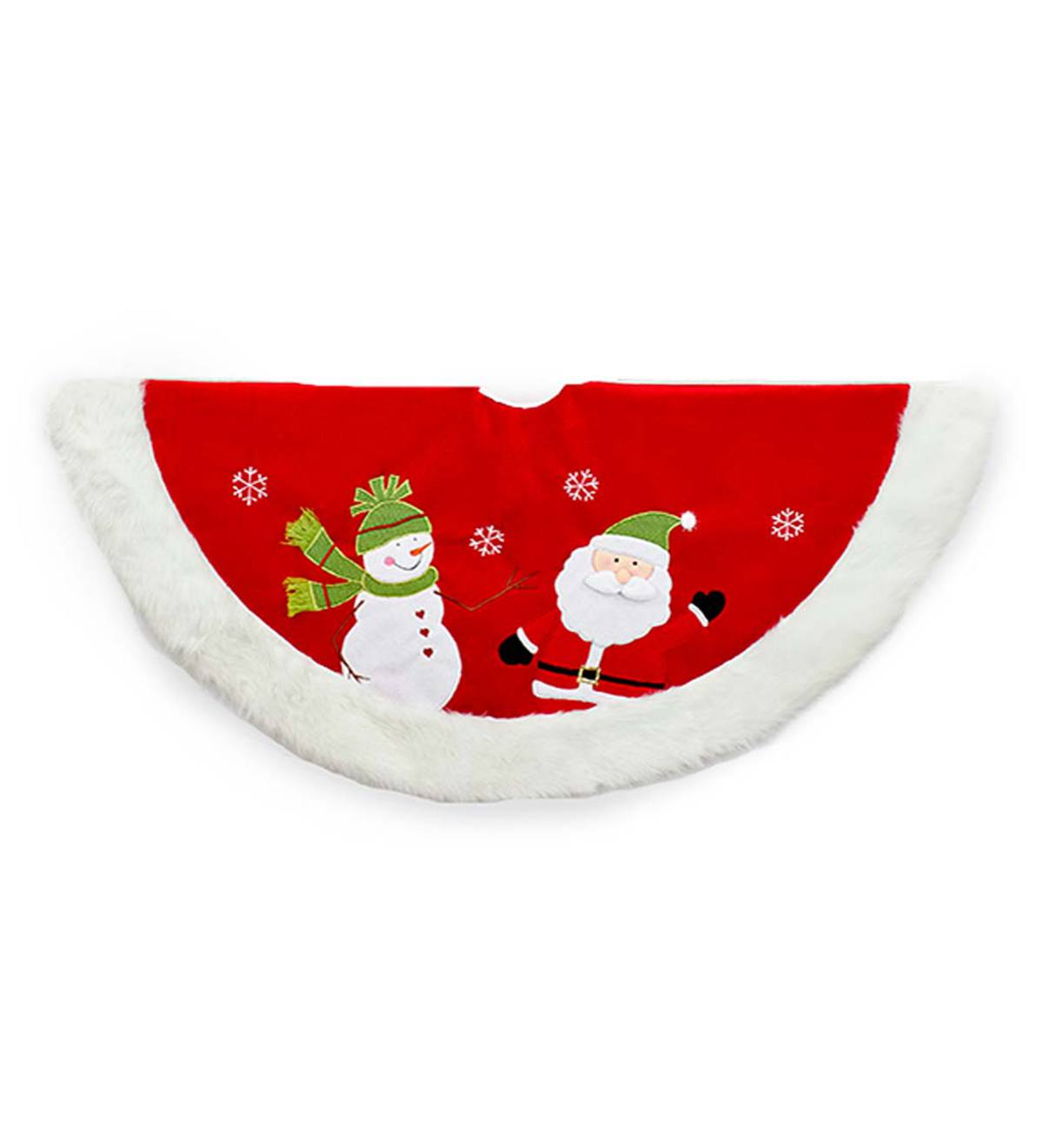 Velvet Santa and Snowman Tree Skirt