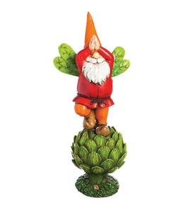 Posing Gnome on Vegetable Statuary - Yellow