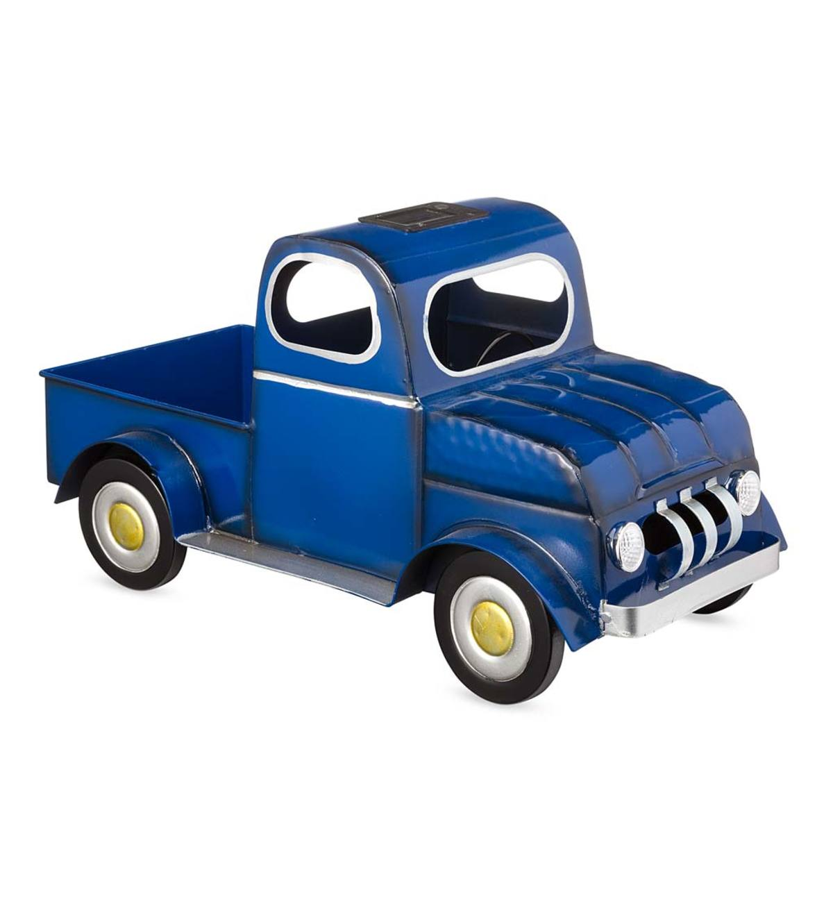 Metal Solar Pickup Truck Planter - Blue