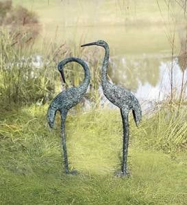 Aluminum Crane Garden Sculptures with Patina Finish, Set of 2