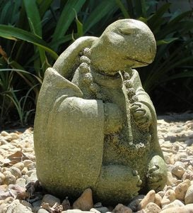 Medium Meditating Turtle Garden Stone Sculpture - Antique