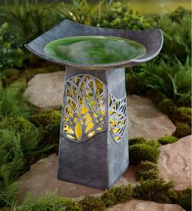 Lighted Resin Birdbath with Hand-Glazed Bowl