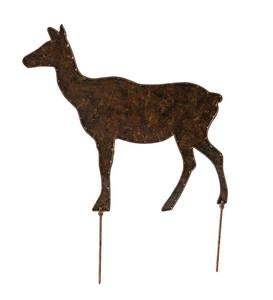 Handcrafted Metal Deer Silhouette Garden Stakes, Set of 3