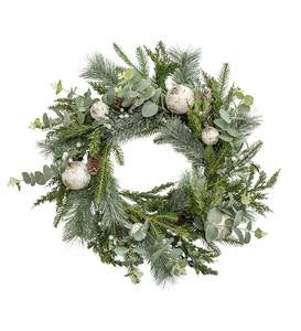 Snow-Kissed Mixed Greens Holiday Wreath