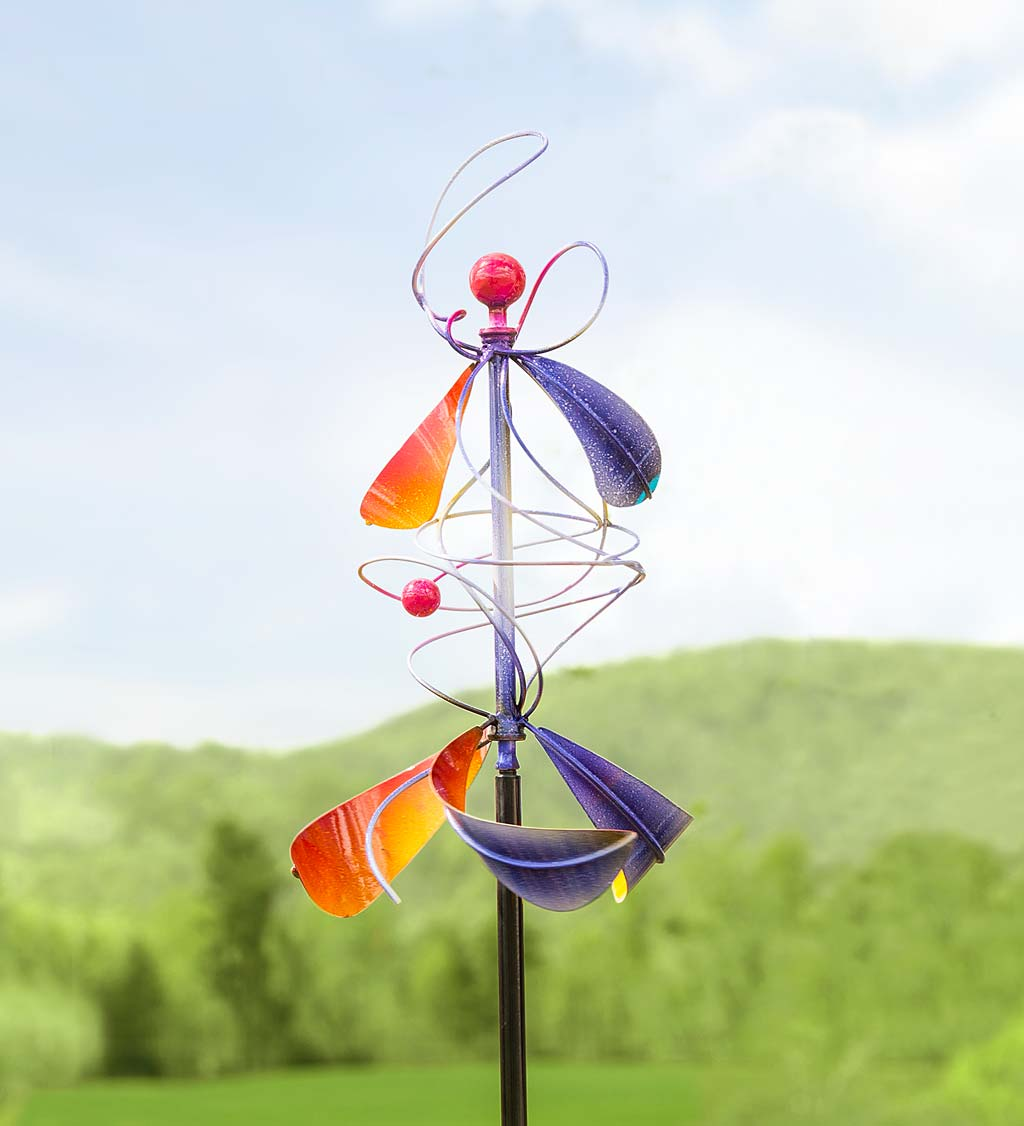 Purple and Orange Metal Spiral Twirler Wind Spinner