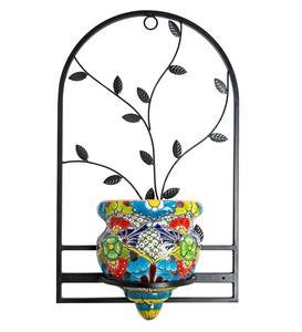 Handcrafted Talavera-Style Terra Cotta Flat-Backed Wall Planter with Wrought Iron Hanger