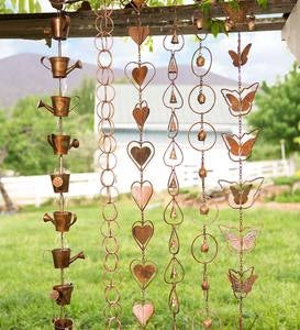 Steel Leaf Rain Chain With Temple Bells