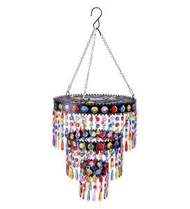 Colorful Beaded Solar-Powered Mini-Chandelier Metal Light
