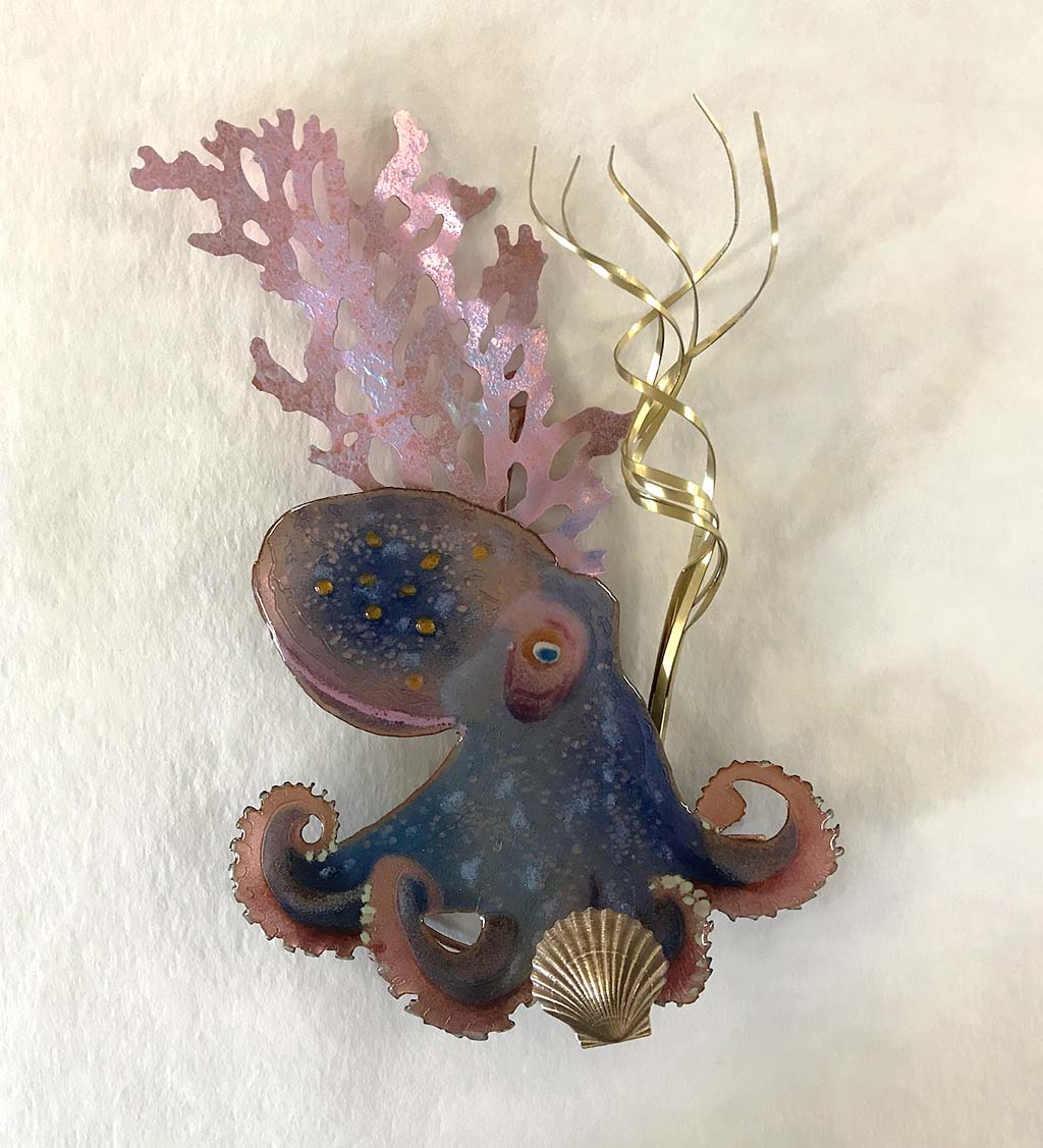 Handcrafted Octopus Enameled Wall Art by Bovano