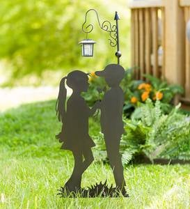 Metal Boy and Girl Silhouette Garden Stake with Solar Lantern