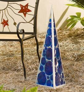 Solar Lighted Metal and Glass Pyramid