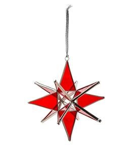 Stained Glass Moravian Star Ornament with Hanging Ribbon - Red