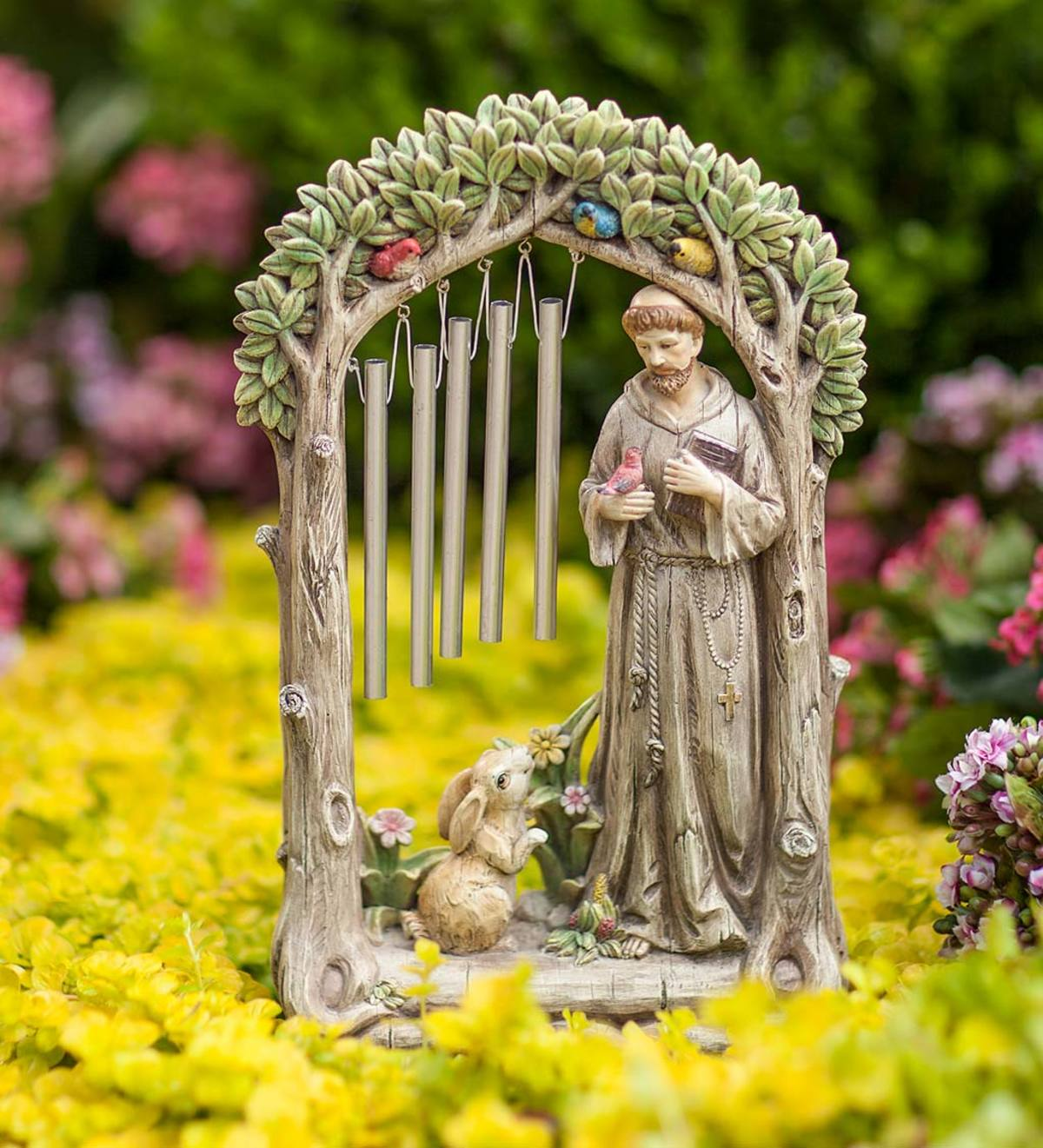 St. Francis in a Garden Figure with Wind Chimes