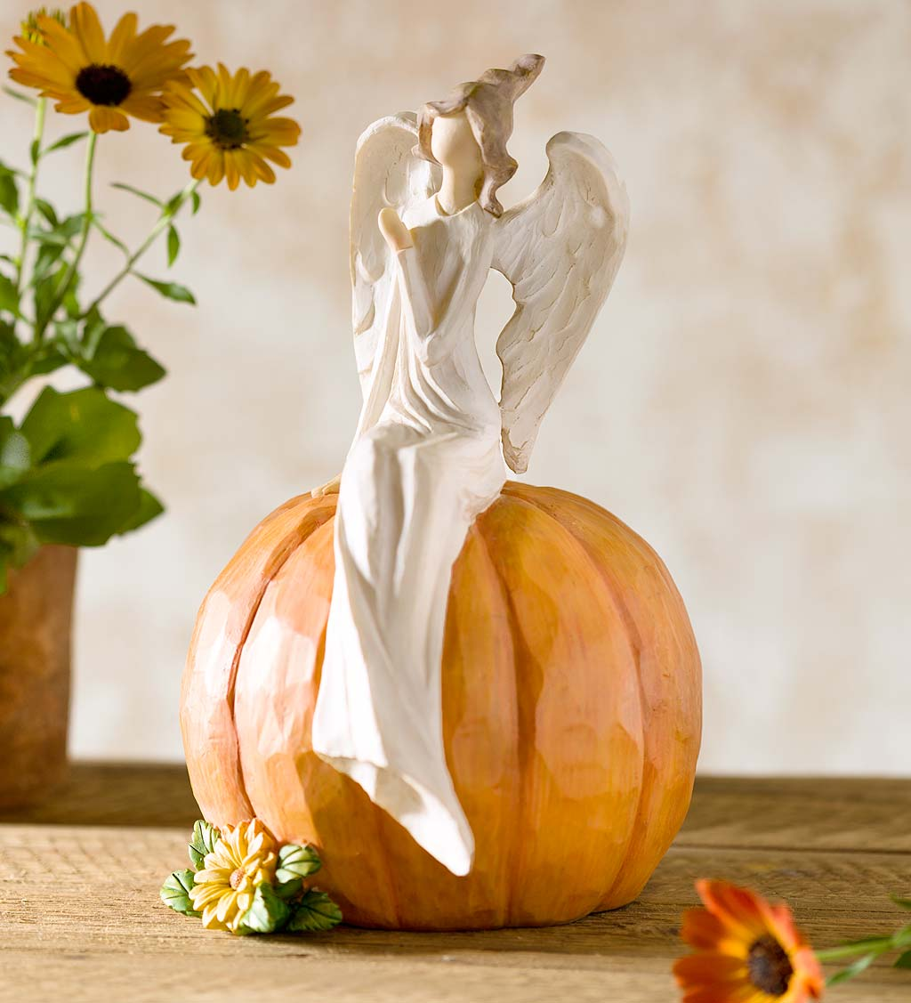 Angel on Pumpkin Figurine