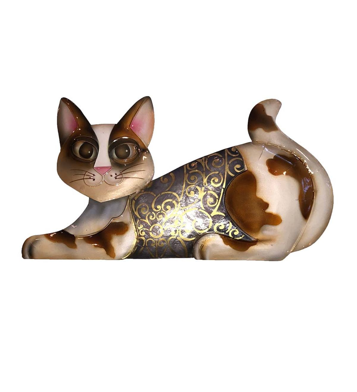 Hand-Painted Metal and Capiz Cat Wall Art