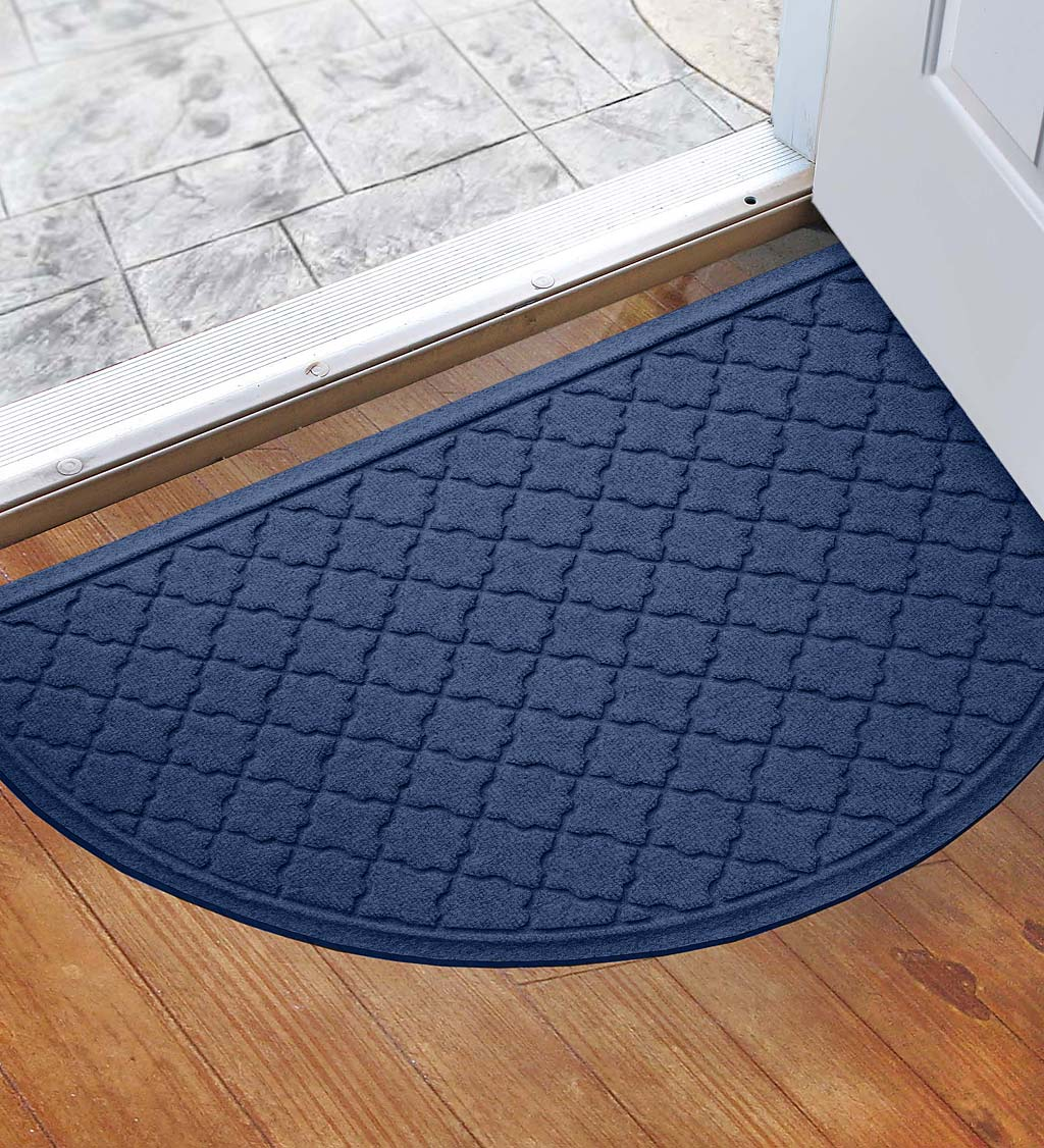"Waterhog Indoor/Outdoor Geometric Half-Round Doormat, 24"" x 39"" - Medium Gray"