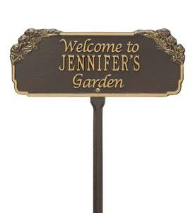 Personalized Welcome Garden Plaque - Black/Gold