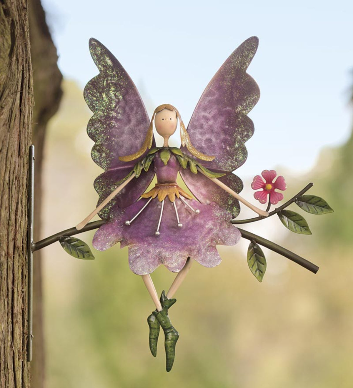 Fairy On Branch Metal Wall Art