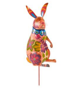 Colorful Metal Bunny Sculpture