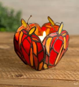 Stained Glass Apple Votive Candle Holder