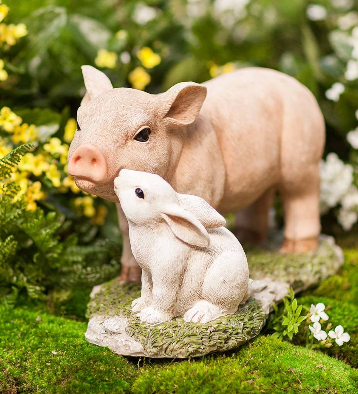 Kissin' Critters Piglet and Bunny Garden Statue
