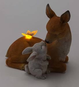 Lighted Solar Deer with Bunny Garden Statue