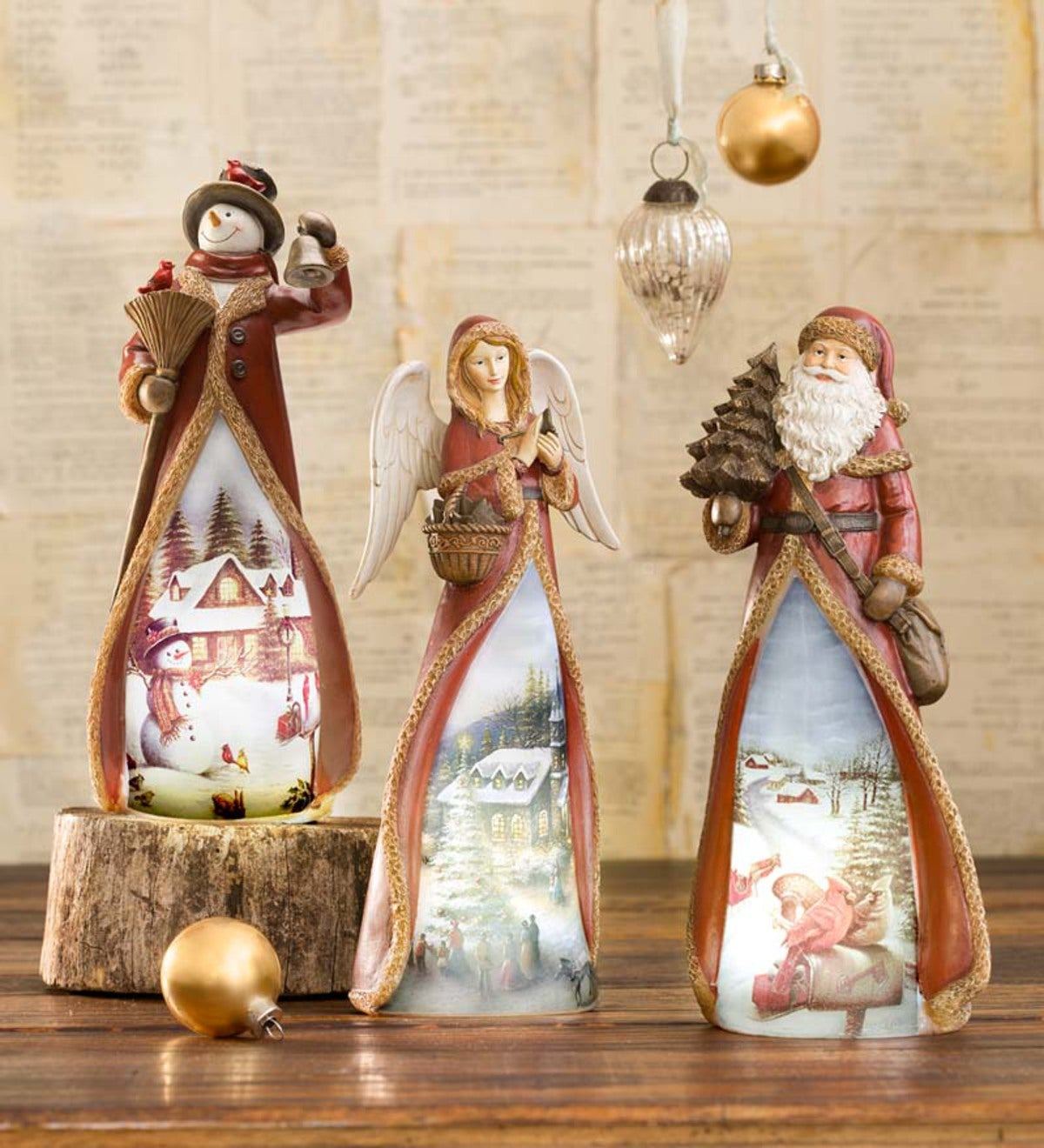Glowing Holiday Tabletop Statue-Angel, Santa, Snowman