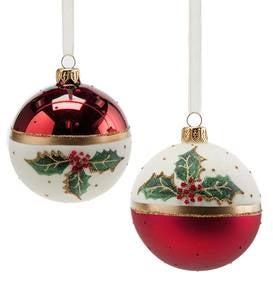 Red and White Glass Holiday Ornaments with Holly Leaf, Set of 2