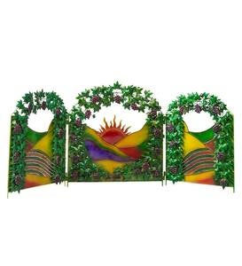 Metal 3-Panel Wine Country Garden Screen
