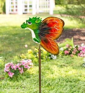 Handcrafted Metal Baby Dragon with Butterfly Wings Garden Stake