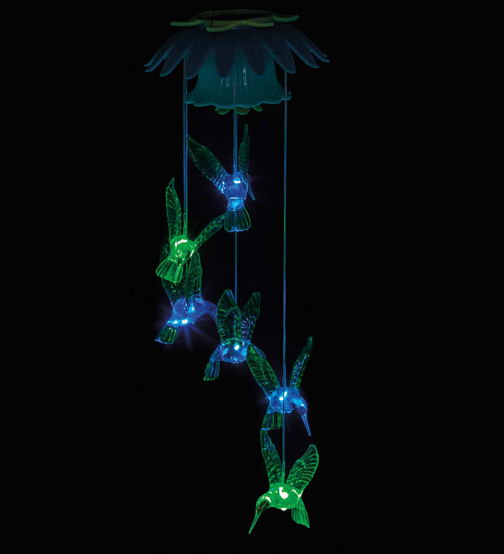 Color Changing Hummingbirds Solar Mobile with Flower Top