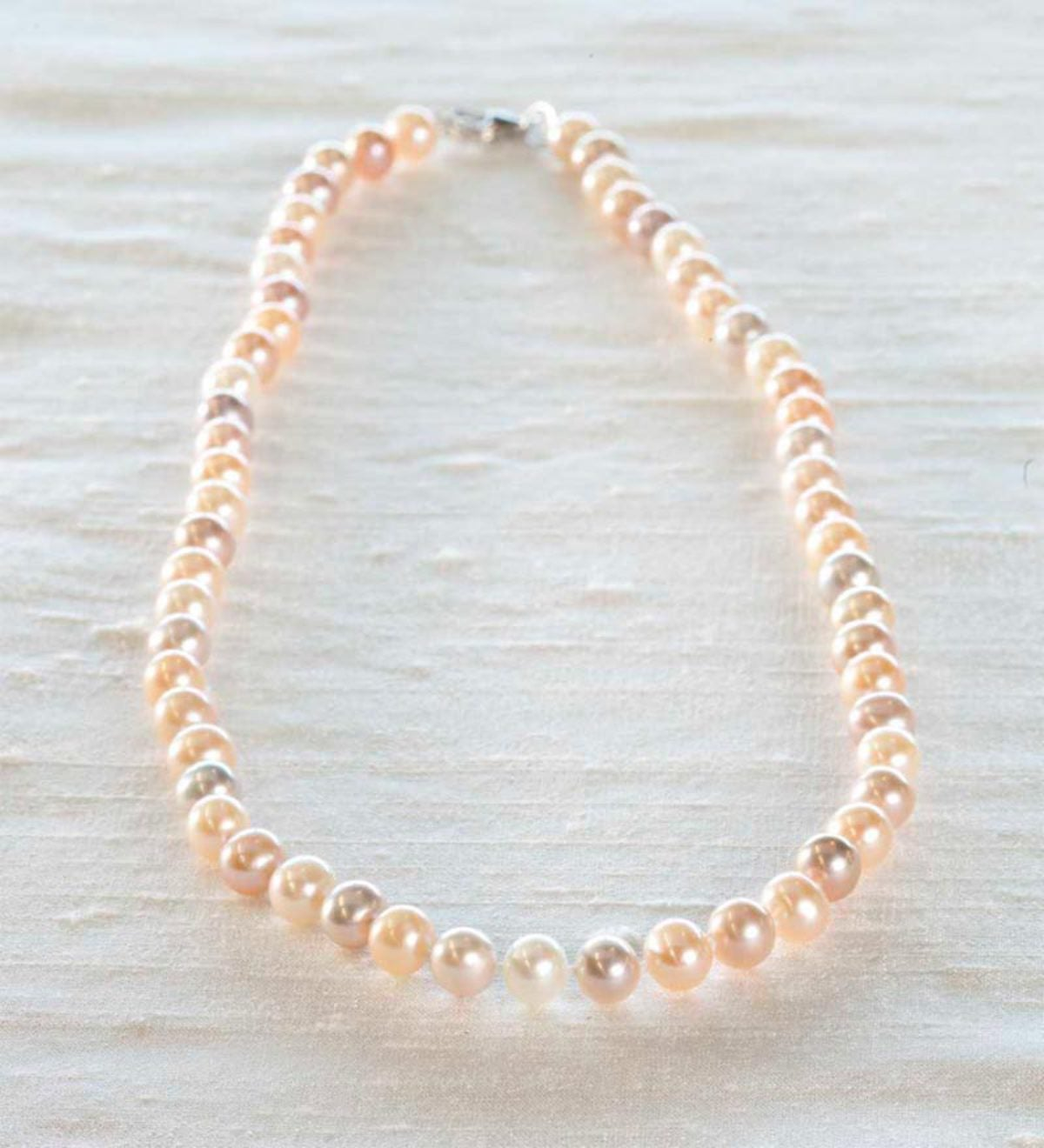 High Lustrous Near Round Freshwater Pearl Necklace - Natural Multi-Color