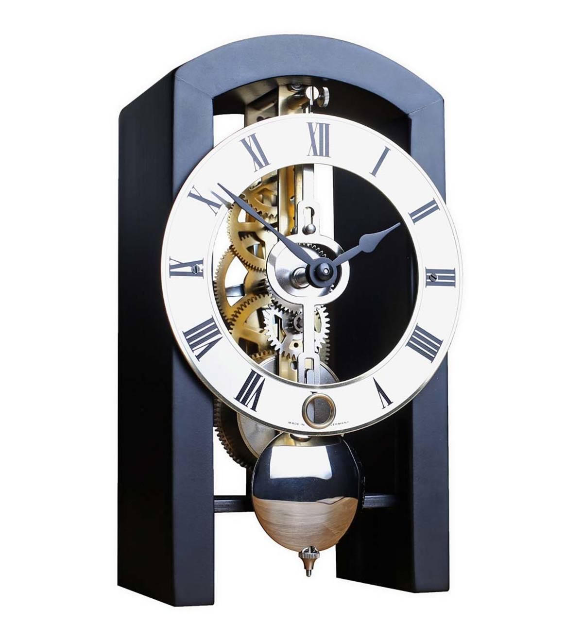 Hermle Black Wood-Framed Tabletop Skeleton Clock