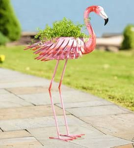 Metal Flamingo Planter