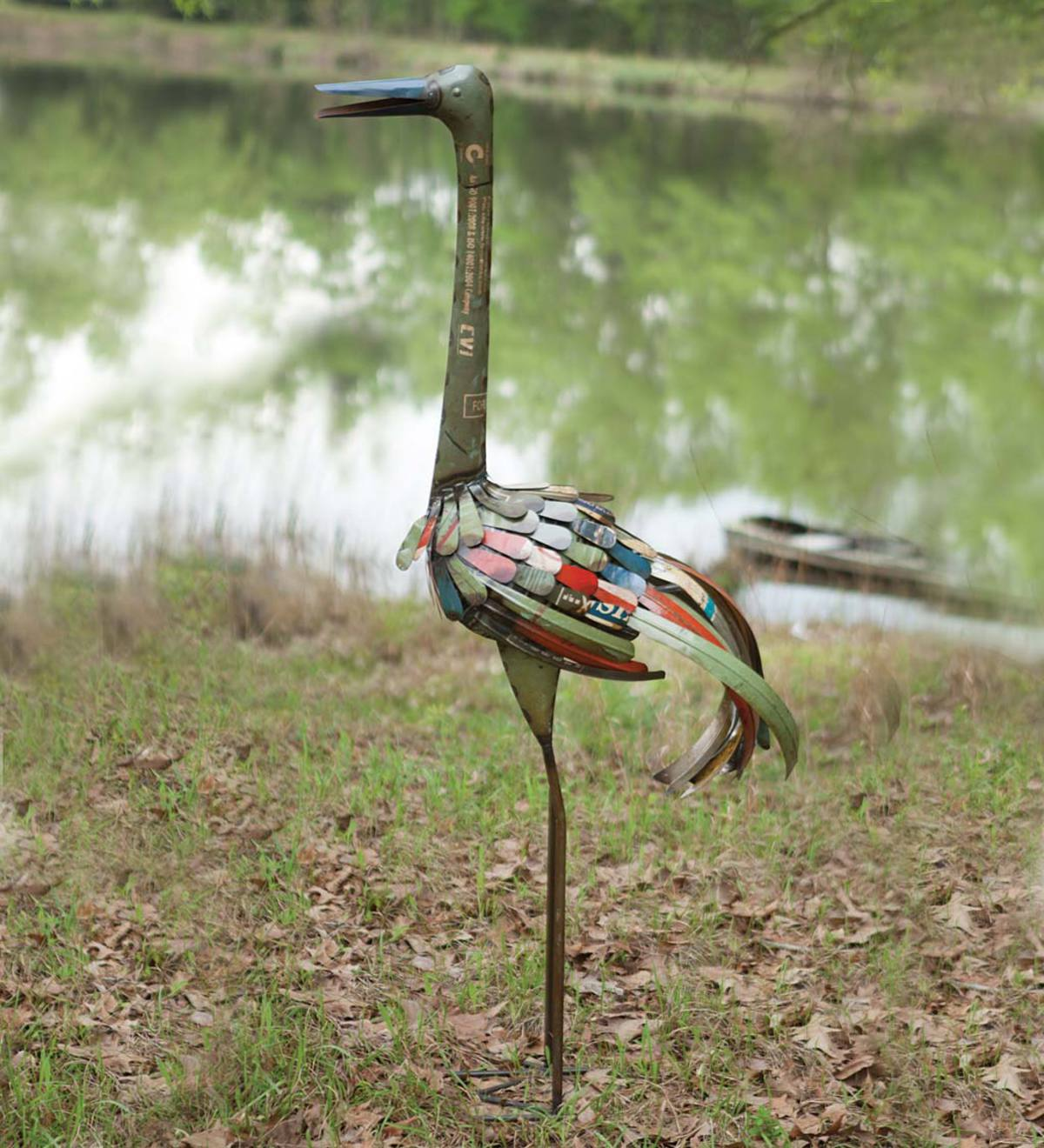 Tall Recycled Metal Bird Sculpture