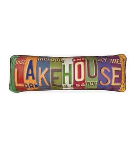 License-Plate Themed Lake House Throw Pillow