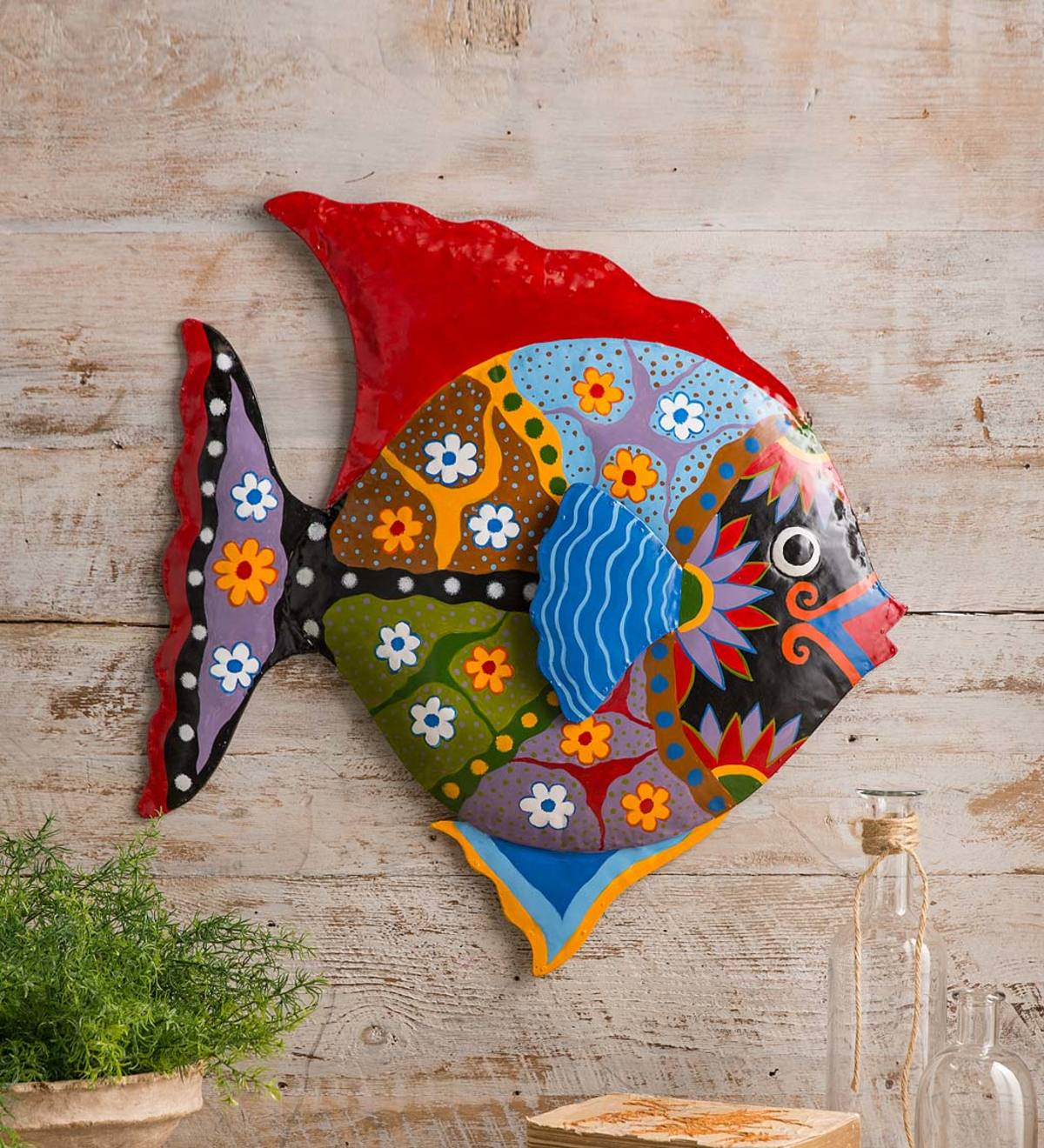 Handcrafted Colorful Metal Fish Wall Art
