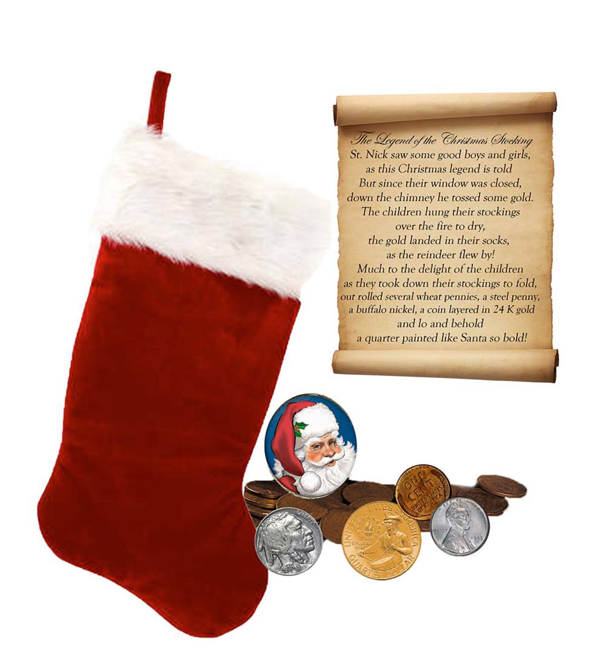 Red Christmas Stocking with Rare Coin Collection