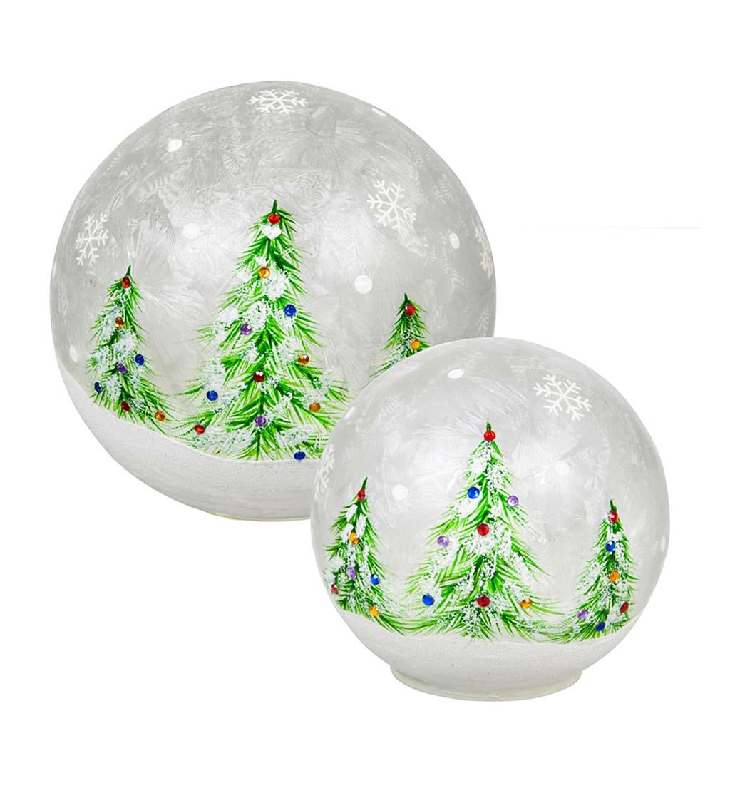 Glass Handpainted Christmas Trees LED Globe, Set of 2