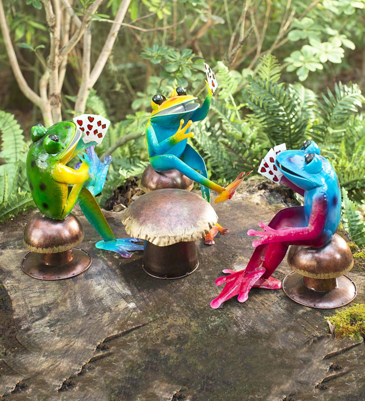 Metal Poker-Playing Frogs, 4-Piece Set