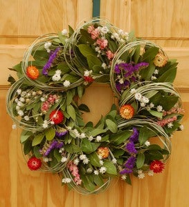 Dried Larkspur And Bear Grass Indoor Wreath