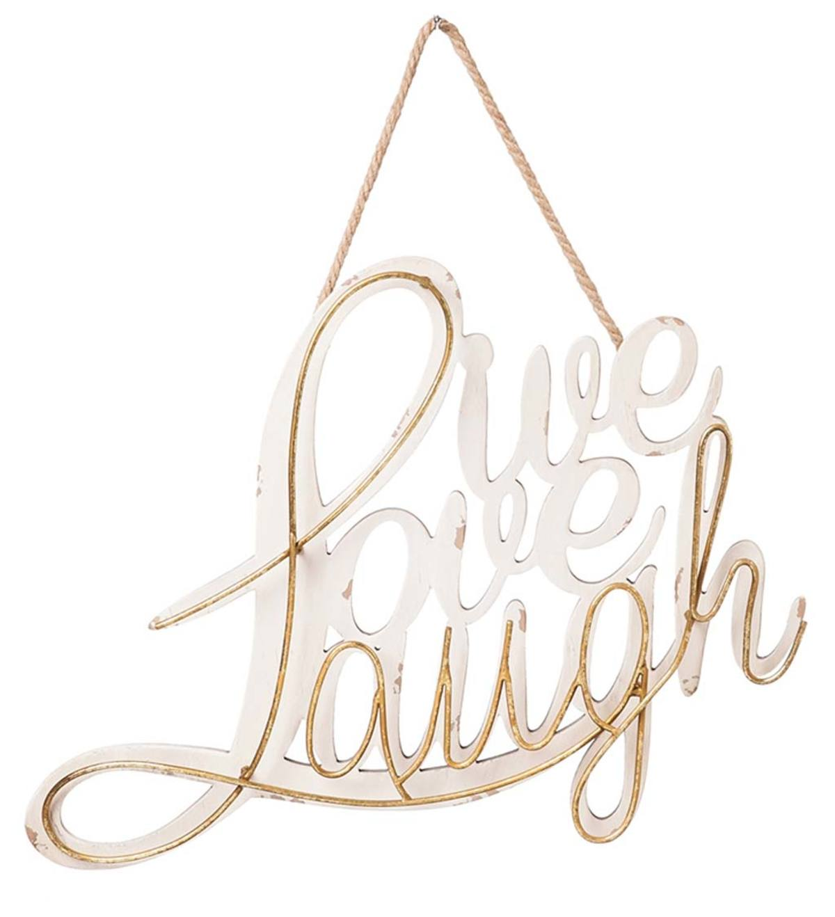 Live Love Laugh Wood & Metal Hanging Wall Art