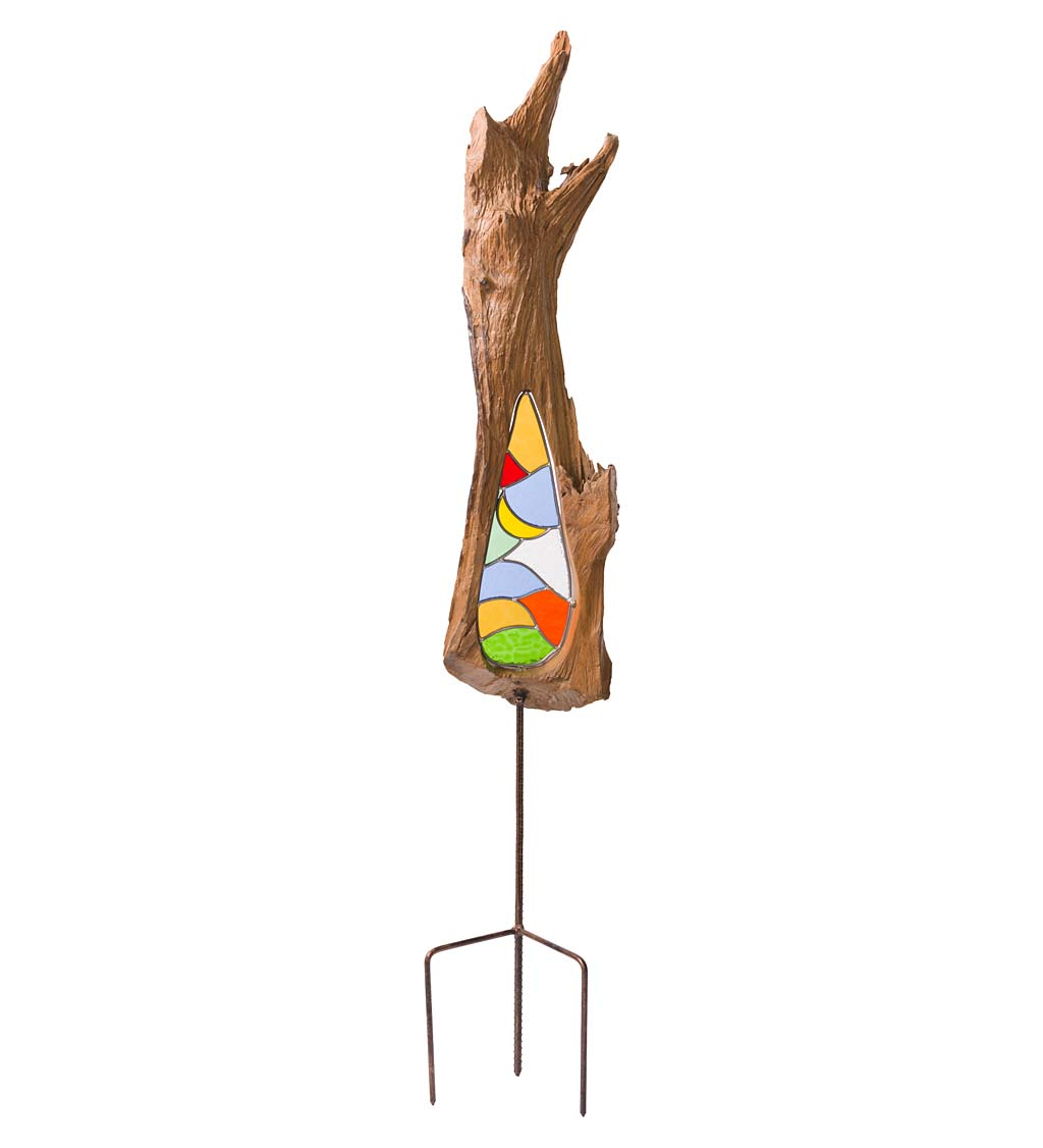 Natural Teak and Stained Glass Decorative Garden Stake