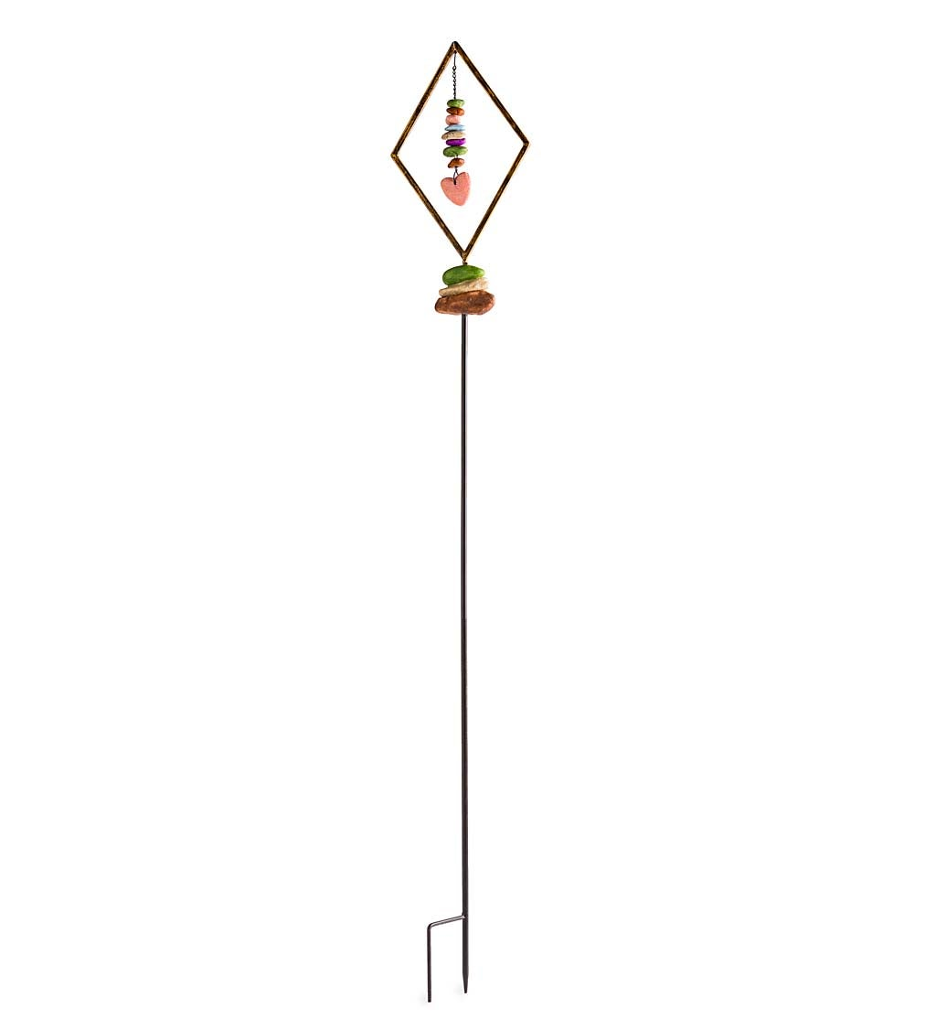 Metal Diamond Garden Stake with Hanging Faux Rocks - Silver