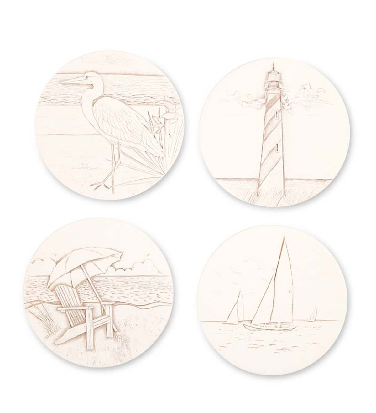 Handcrafted Nautical Clay Coasters, Set of 4 - Beach