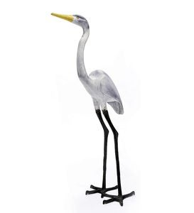 Tall Egret Metal Yard Sculpture